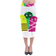 Three mosters Midi Pencil Skirt