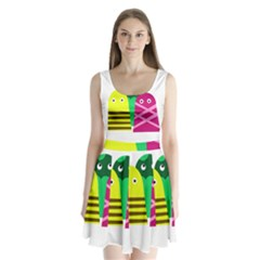 Three Mosters Split Back Mini Dress