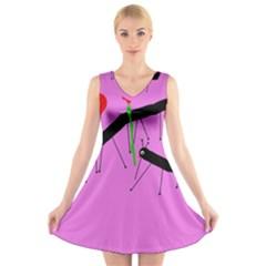 Centipedes V-Neck Sleeveless Skater Dress