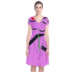 Centipedes Short Sleeve Front Wrap Dress