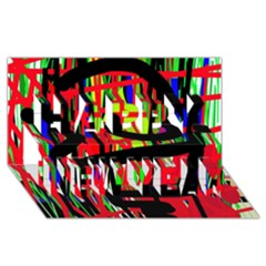 Colorful abstraction Happy New Year 3D Greeting Card (8x4)