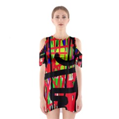 Colorful abstraction Cutout Shoulder Dress