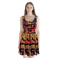 Colorful abstraction Split Back Mini Dress
