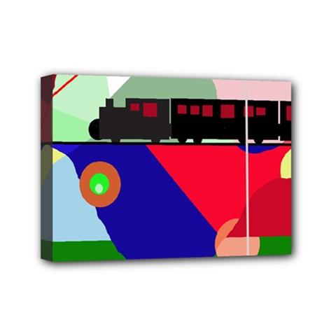Abstract train Mini Canvas 7  x 5