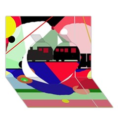 Abstract train Heart 3D Greeting Card (7x5)