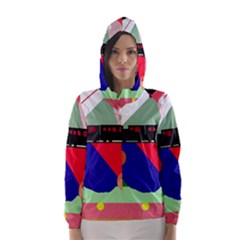 Abstract train Hooded Wind Breaker (Women)