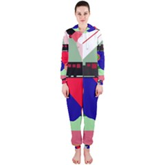 Abstract train Hooded Jumpsuit (Ladies)