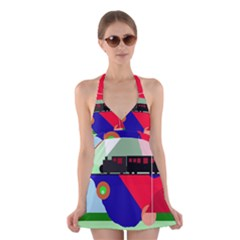 Abstract train Halter Swimsuit Dress