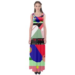 Abstract train Empire Waist Maxi Dress