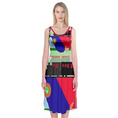 Abstract train Midi Sleeveless Dress