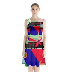 Abstract train Sleeveless Waist Tie Dress