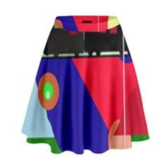 Abstract train High Waist Skirt