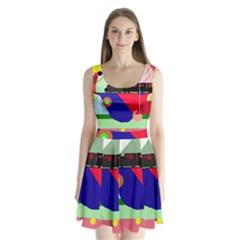 Abstract train Split Back Mini Dress