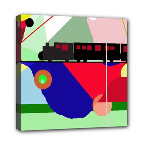 Abstract train Mini Canvas 8  x 8