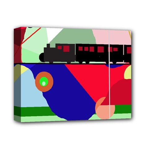 Abstract train Deluxe Canvas 14  x 11