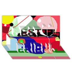 Abstract train Best Friends 3D Greeting Card (8x4)