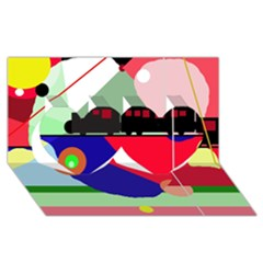 Abstract train Twin Hearts 3D Greeting Card (8x4)