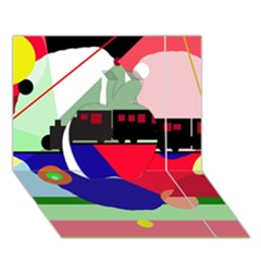 Abstract train Apple 3D Greeting Card (7x5)