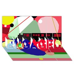 Abstract Train Engaged 3d Greeting Card (8x4)