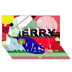 Abstract train Merry Xmas 3D Greeting Card (8x4)