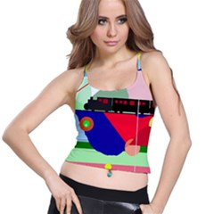 Abstract train Spaghetti Strap Bra Top