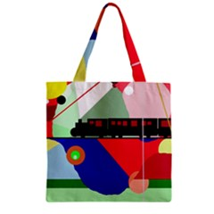 Abstract train Zipper Grocery Tote Bag