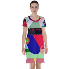 Abstract train Short Sleeve Nightdress