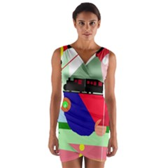 Abstract train Wrap Front Bodycon Dress