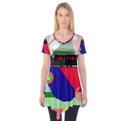 Abstract train Short Sleeve Tunic