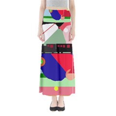 Abstract train Maxi Skirts