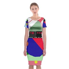 Abstract Train Classic Short Sleeve Midi Dress