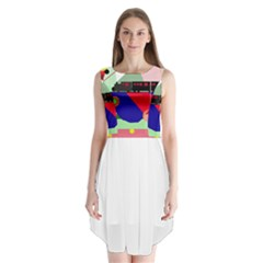 Abstract train Sleeveless Chiffon Dress