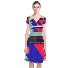 Abstract train Short Sleeve Front Wrap Dress