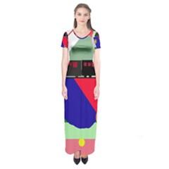 Abstract train Short Sleeve Maxi Dress