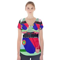Abstract Train Short Sleeve Front Detail Top