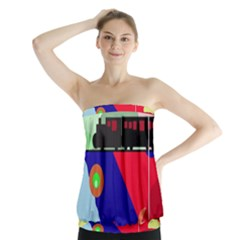 Abstract train Strapless Top