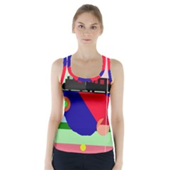 Abstract Train Racer Back Sports Top