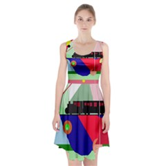 Abstract train Racerback Midi Dress