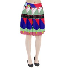 Abstract train Pleated Skirt