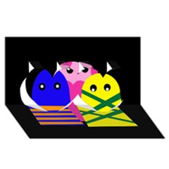 Three monsters Twin Hearts 3D Greeting Card (8x4)