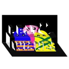 Three monsters Best Wish 3D Greeting Card (8x4)