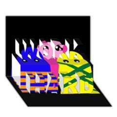 Three monsters WORK HARD 3D Greeting Card (7x5)
