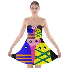 Three monsters Strapless Dresses