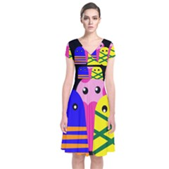 Three monsters Short Sleeve Front Wrap Dress