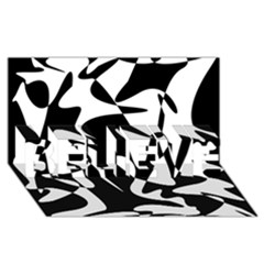 Black and white elegant pattern BELIEVE 3D Greeting Card (8x4)
