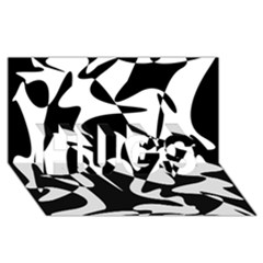 Black and white elegant pattern HUGS 3D Greeting Card (8x4)