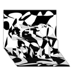 Black and white elegant pattern Get Well 3D Greeting Card (7x5)