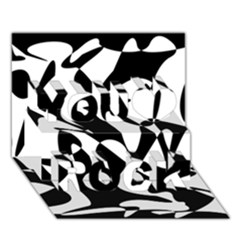Black and white elegant pattern You Rock 3D Greeting Card (7x5)