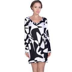 Black and white elegant pattern Long Sleeve Nightdress
