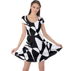 Black and white elegant pattern Cap Sleeve Dresses